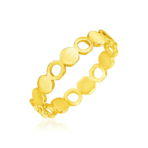 14k Yellow Gold Ring with Polished Circle Motifs