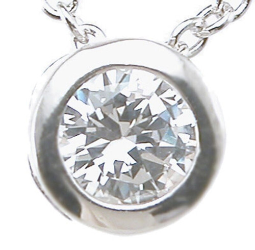 Brilliant CZ Bezel Pendant Rhodium Finished Sterling Silver Silver Plated Chain