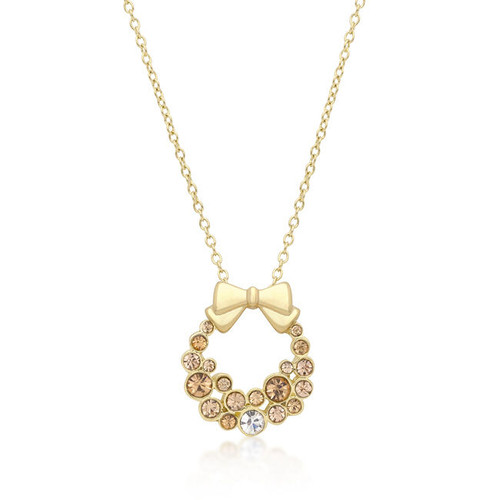 Holiday Wreath Champagne Crystal Pendant Necklace 18k Gold Plated