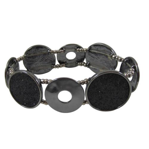 "Pre-Owned Black 1"" Circular Discs Stretch fashion Bracelet"