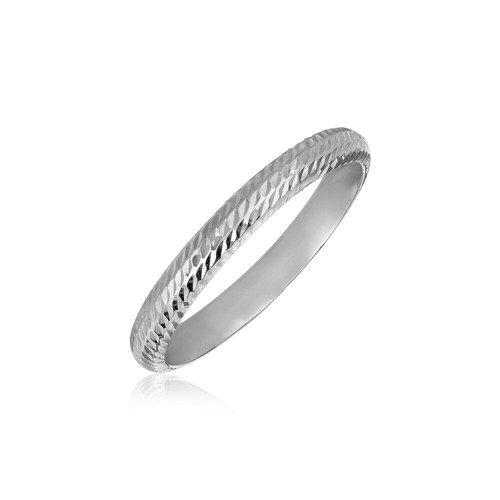 14k White Gold Textured Comfort Fit Wedding Band