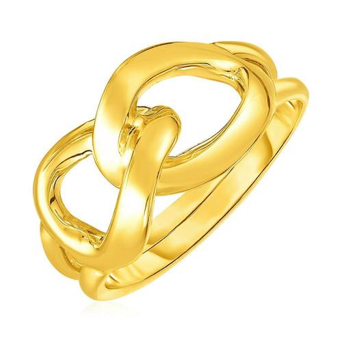 14k Yellow Gold Interlocking Links Ring