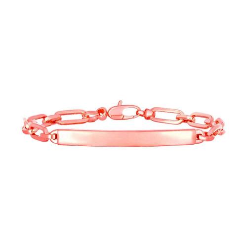 14K Rose Gold Paperclip Chain ID Bracelet