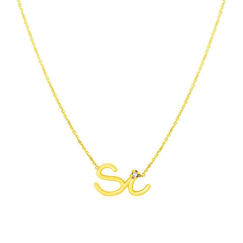14K Yellow Gold Si Necklace with Diamond
