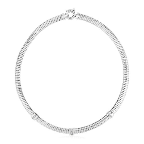 Sterling Silver Serpentine Style Necklace with Cubic Zirconias