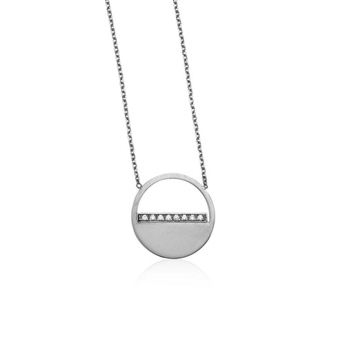 14k White Gold Circle Necklace with Diamonds