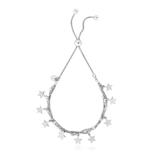 Sterling Silver Multi Strand Chain Friendship Bracelet with Polished Stars