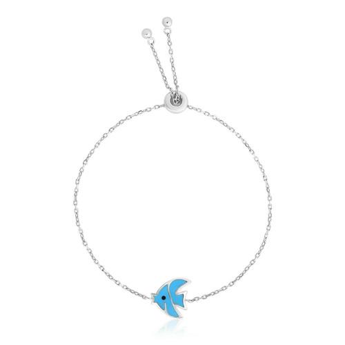 Sterling Silver 9 1/4 inch Adjustable Bracelet with Enameled Blue Fish