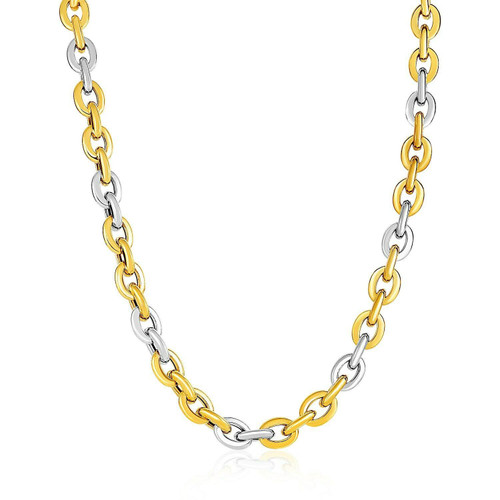 14k TwoTone Yellow and White Gold Rounded Chain Link Necklace