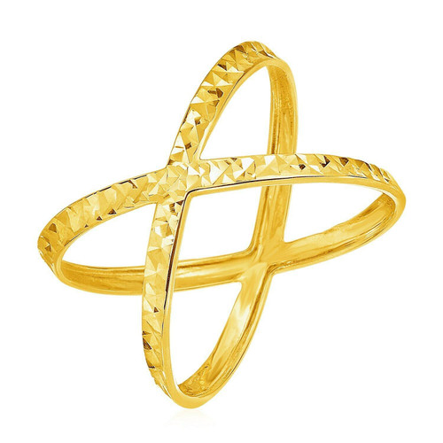 14k Yellow Gold Textured X Profile Ring