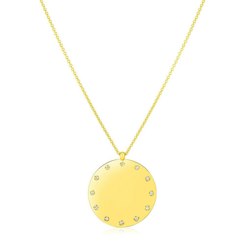 14K Yellow Gold Disc Necklace with Diamonds