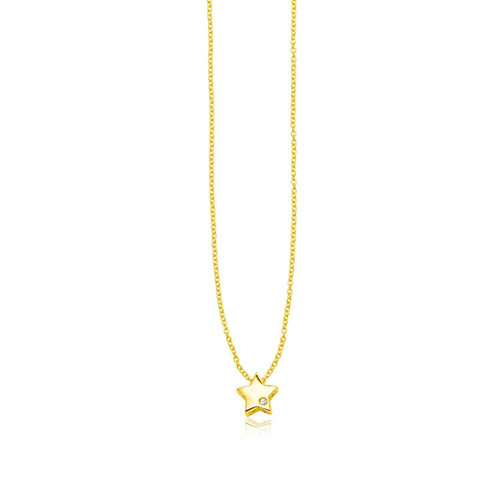 14k Yellow Gold Polished Star Necklace with Diamond