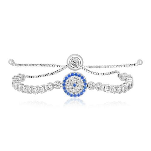 Sterling Silver Adjustable Enameled Eye Motif Bracelet with Cubic Zirconias