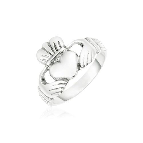 Sterling Silver Wide Polished Claddagh Ring
