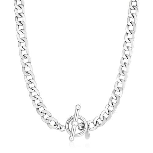 Sterling Silver Polished Wide Link Toggle Necklace