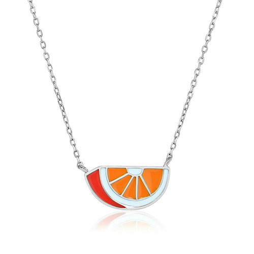 Sterling Silver 18 inch Necklace with Enameled Orange Slice