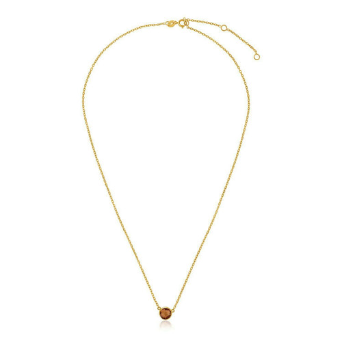 14k Yellow Gold 17 inch Necklace with Round Citrine