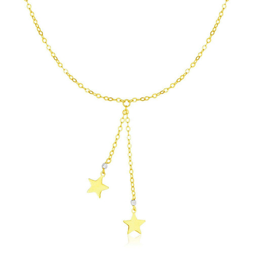 14k Two Tone Gold Lariat Style Necklace with Stars