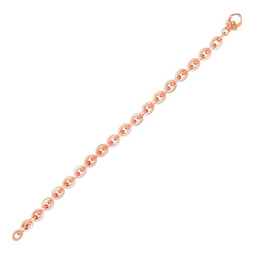Shiny Oval Link Bracelet in 14k Rose Gold