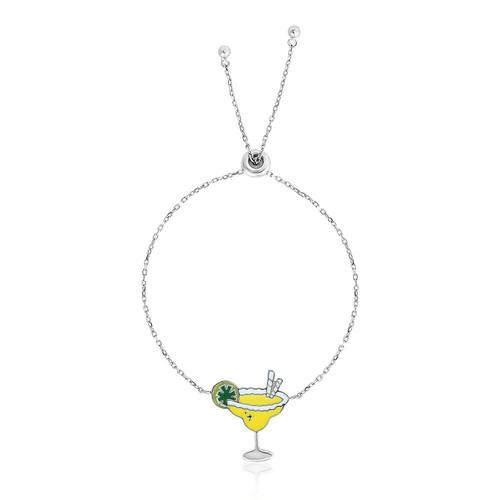 Sterling Silver 9 1/4 inch Adjustable Bracelet with Enameled Margarita Glass
