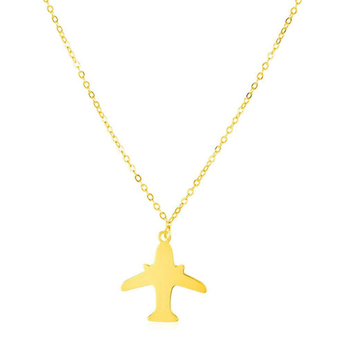 14K Yellow Gold Airplane Necklace