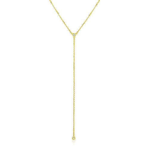 14k Yellow Gold 20 inch Lariat Necklace with Diamonds