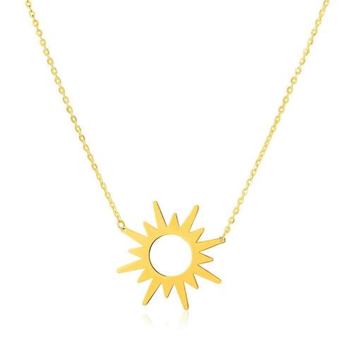 14K Yellow Gold Sunburst Necklace