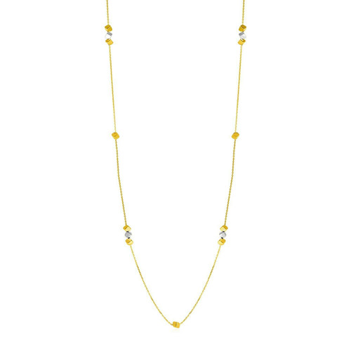 14k Two Tone Gold Station Necklace with Polished Cubes