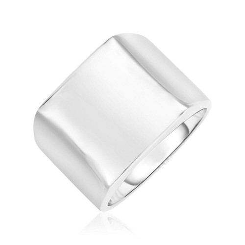 Sterling Silver Polished Square Motif Wide Band Ring