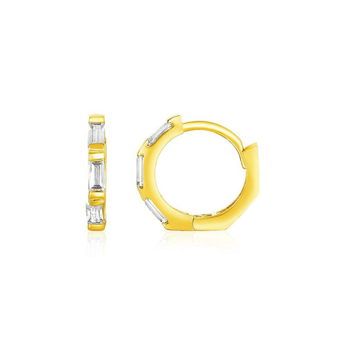 14k Yellow Gold Petite Octagonal Hoop Earrings with Cubic Zirconias