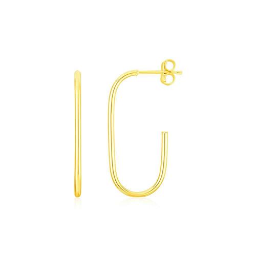 14K Yellow Gold J Hoop Earrings