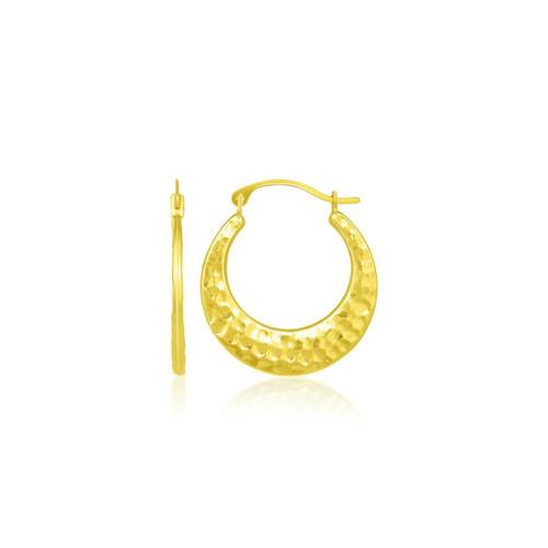 10k Yellow Gold Graduated Textured Hoop Earrings