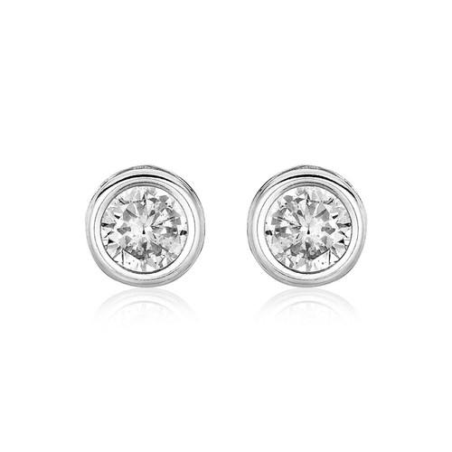 Sterling Silver Round Bezel Set 0.24 inch Cubic Zirconia Earrings