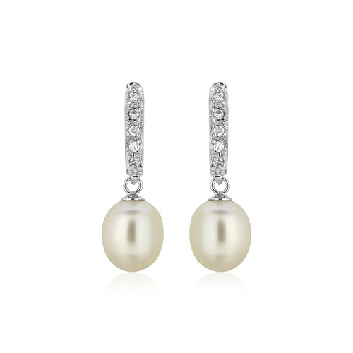 Sterling Silver Earrings with Freshwater Pearls and Cubic Zirconias
