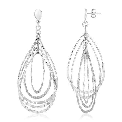 Sterling Silver Textured Teardrop Motif Dangle Earrings