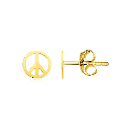 14k Yellow Gold Post Earrings with Peace Signs