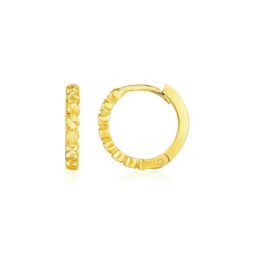 14k Yellow Gold Petite Textured Round Hoop Earrings