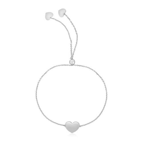 14k White Gold Adjustable Heart Bracelet