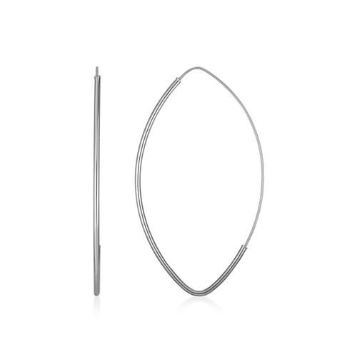 14k White Gold Polished Long Marquise Motif Earrings