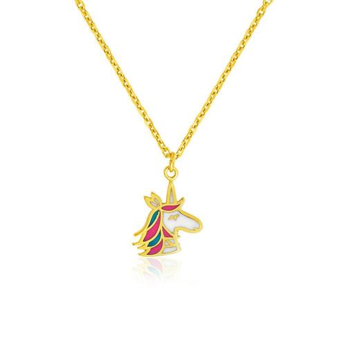 14k Yellow Gold Childrens Necklace with Enameled Unicorn Pendant