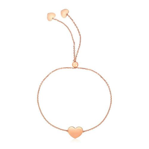 14k Rose Gold Adjustable Heart Bracelet