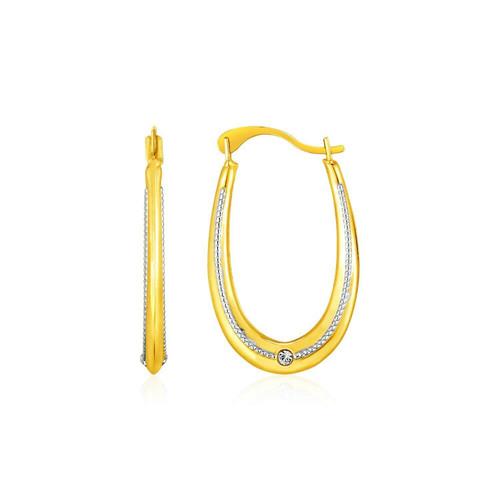 14k Two Toned Gold Elongated Hoop Earrings