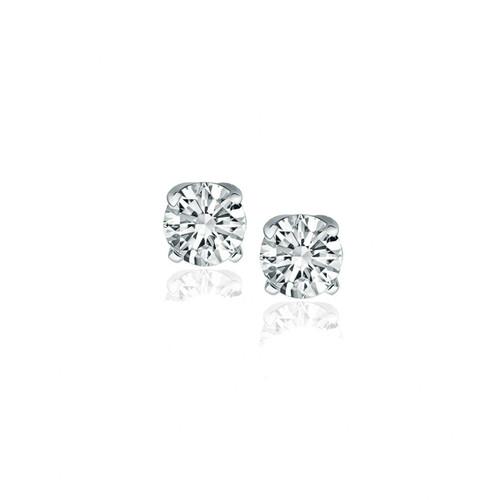 14k White Gold Diamond Four Prong Stud Earrings (1/2 cttw)