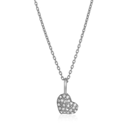 Gold and Diamond Heart Pendant Necklace 14k White Gold (1/10 cttw)