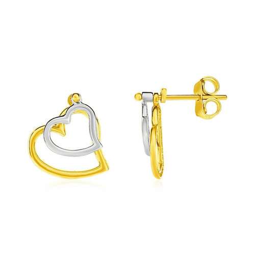 14k Two Tone Gold Post Earrings with Open Hearts