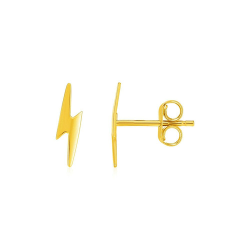 14k Yellow Gold Post Earrings with Lightning Bolts