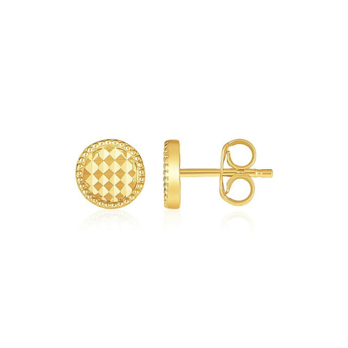 14k Yellow Gold Textured Circle Post Earrings
