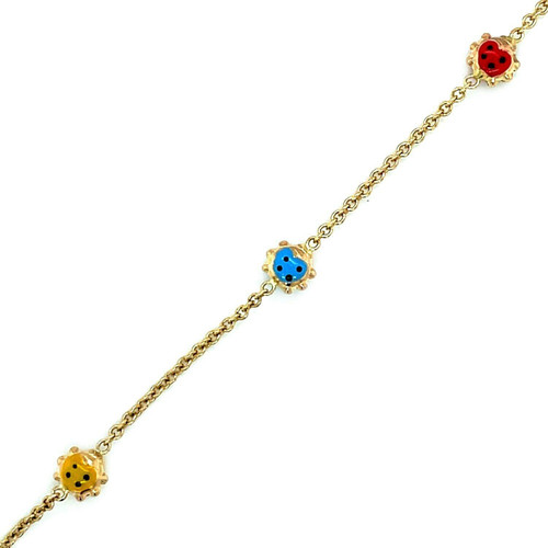 14k Yellow Gold Childs Bracelet with Ladybug Stations