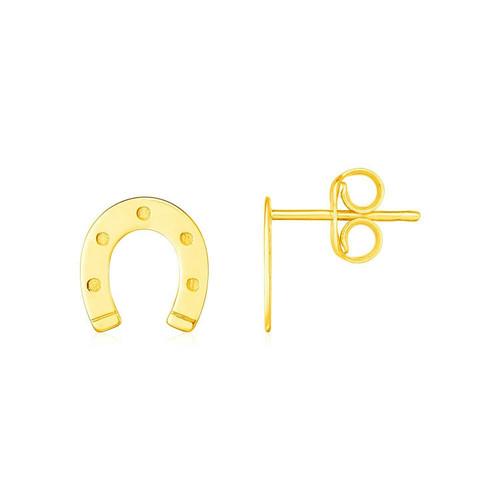14K Yellow Gold Horseshoe Earrings