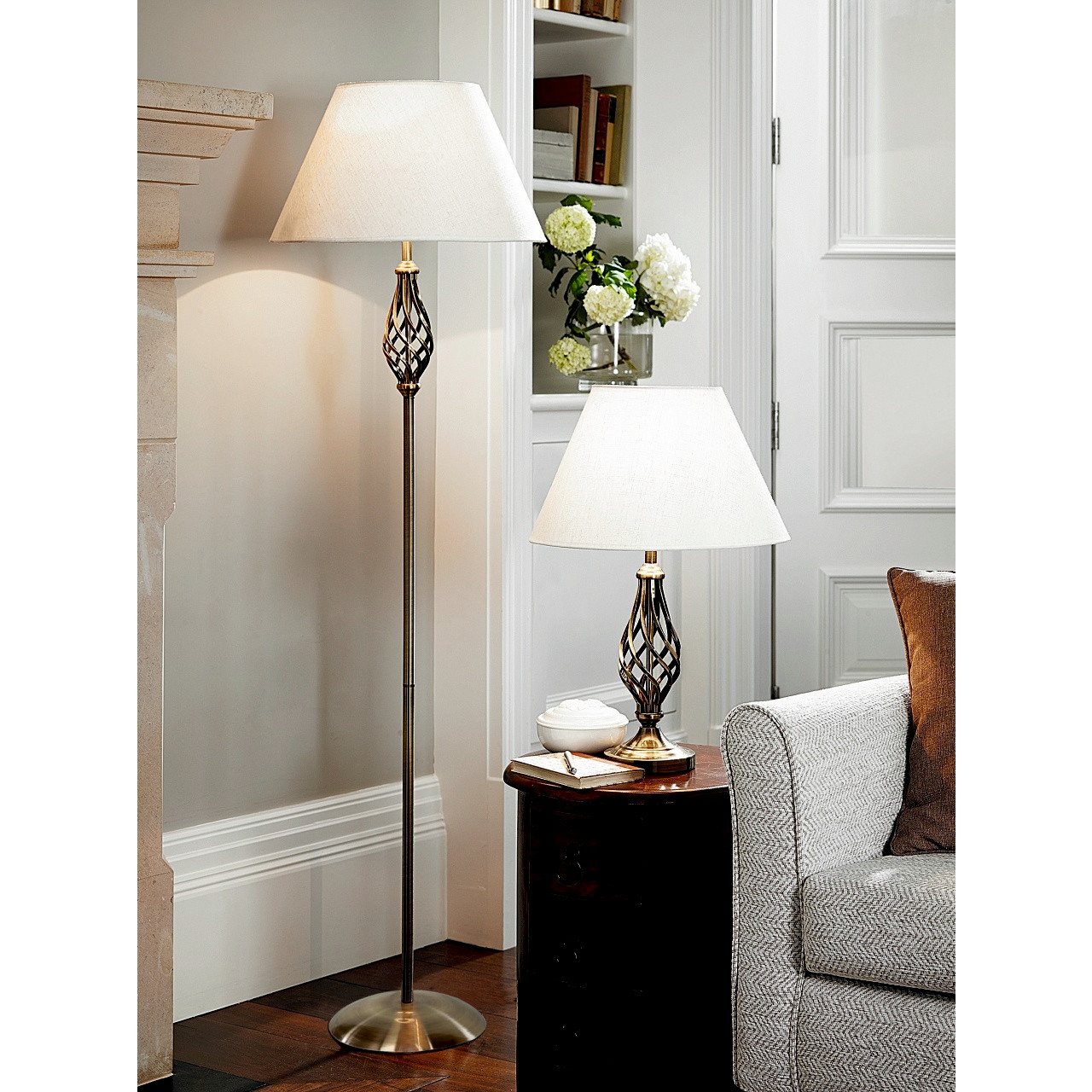 Picture of: Barley Twist Table And Floor Lamp Set With Free 4w 8w Led Bulbs Scotts Of Stow